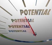 Potential Word Spedometer Reaching Full Possible Opportunity Royalty Free Stock Images