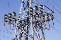 Potenza ad alta tensione elettrica Fotografia Stock