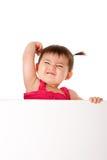 Potenza del bambino con la scheda bianca immagini stock libere da diritti