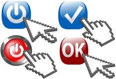 Potenza di scatto della mano della freccia del cursore sui simboli di APPROVAZIONE dell'assegno Immagine Stock Libera da Diritti