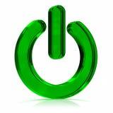 Potenza sull'icona verde Fotografia Stock Libera da Diritti