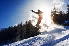 Potere del sole dello snowboard Fotografie Stock