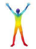 Potere dell'universo e dell'essere umano, pittura dell'acquerello, 7 del reiki di yoga di chakra Fotografie Stock