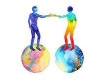 Potere dell'universo e dell'essere umano, pittura dell'acquerello, reiki di chakra, universo del mondo del cervello dentro la vos Immagini Stock Libere da Diritti