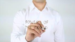 Potere della folla, scrittura dell'uomo sul vetro Immagine Stock