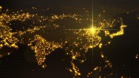 Potere della porcellana, fascio di energia su Pechino mappa scura con le città illuminate e le aree umane di densità illustrazion illustrazione di stock