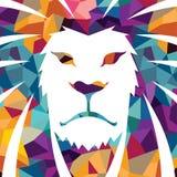 Potere di logo del leone forte del modello dell'illustrazione del gatto del fronte di orgoglio grafico selvaggio animale creativo Fotografia Stock