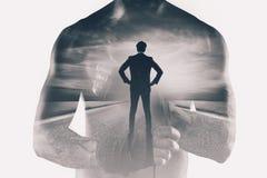 Potere e determinazione di un uomo d'affari del combattente Doppia esposizione immagini stock libere da diritti