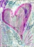 Potere selvaggio disegnato a mano di amore del cuore dei graffiti guastato fotografia stock libera da diritti