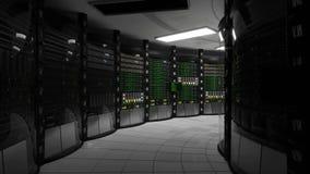 Potere sopra nella stanza del server dopo il blackout stock footage