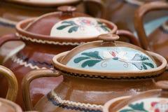Poterie rustique traditionnelle de Roumanie Images libres de droits