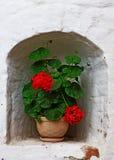Potes con los geranios rojos en la ventana Fotos de archivo