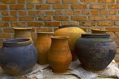 Potes de arcilla de la cerámica Foto de archivo libre de regalías