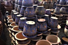 Potes de cerámica adornados de la planta - azul Imagen de archivo libre de regalías