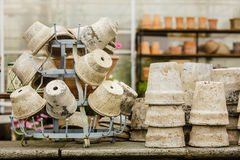 Potes de cerámica pasados de moda de los floreros de la arcilla Fotos de archivo libres de regalías