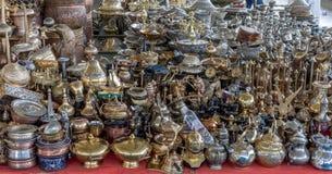 Potes de cobre brillantes del café Imagen de archivo