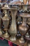 Potes de cobre brillantes del café Foto de archivo libre de regalías