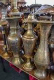 Potes de cobre brillantes del café Fotografía de archivo libre de regalías