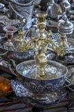 Potes de cobre brillantes del café Fotografía de archivo