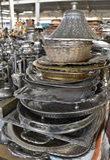 Potes de cobre brillantes del café Imagenes de archivo