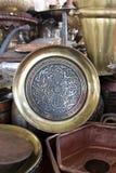 Potes de cobre brillantes del café Imagen de archivo libre de regalías