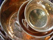 Potes de cocinar de cobre Fotografía de archivo libre de regalías