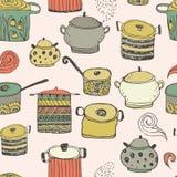 Potes de cocinar lindos y el poner letras Modelo inconsútil Imagen de archivo libre de regalías