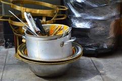 Potes de cocinar sucios Fotografía de archivo libre de regalías
