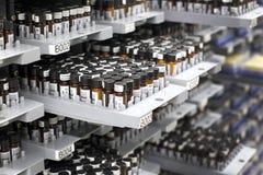 Potes de cristal de la píldora Foto de archivo libre de regalías