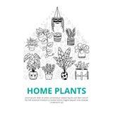 Potes interiores y al aire libre divertidos del plantsin con el texto editable ilustración del vector