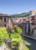 Potes village with river Stock Photo