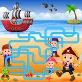 Potete aiutare il pirata a trovare la sua nave illustrazione vettoriale