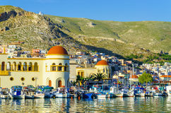 Pothia, capital and the port of Kalymnos,  harbor view. With colorful boats, Greece Royalty Free Stock Photo
