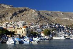 Pothia, capitale d'île de Kalymnos Images stock