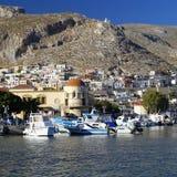 Pothia, capitale d'île de Kalymnos Photo libre de droits