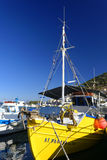 Pothia harbor on Kalymnos island Stock Photography
