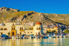Pothia port and townhall on Kalymnos island Greece Royalty Free Stock Images
