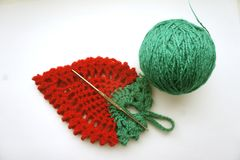 A potholder crocheted stock images