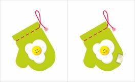 Potholder met applique gebraden eieren Royalty-vrije Stock Fotografie