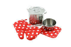 Potholder and pans Royalty Free Stock Photography