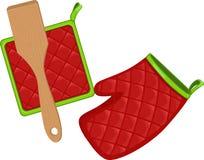 Potholders en de peddel van de herinnering onder uw embleem Stock Afbeelding