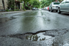 pothole stock afbeelding
