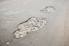 Pothole 03 Royalty Free Stock Photos