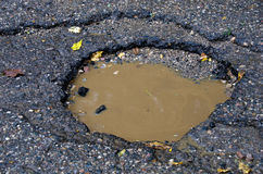 pothole in road Royalty Free Stock Image