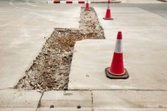 Pothole on road surfaces Stock Photo