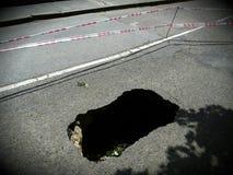 Pothole / Sinking hole. Deep pothole/ Sinking hole in road Royalty Free Stock Image