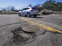 Pothole in weg royalty-vrije stock afbeelding