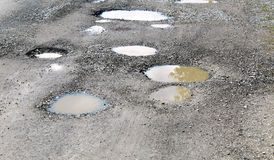 Potholes filled by water. On a rural unpaved road Royalty Free Stock Photos