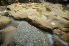 Potholes in granite bedrock of Diana's Baths, Bartlett, New Hamp Royalty Free Stock Photo