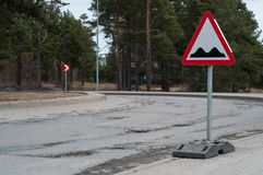 Potholes on the road Royalty Free Stock Photos